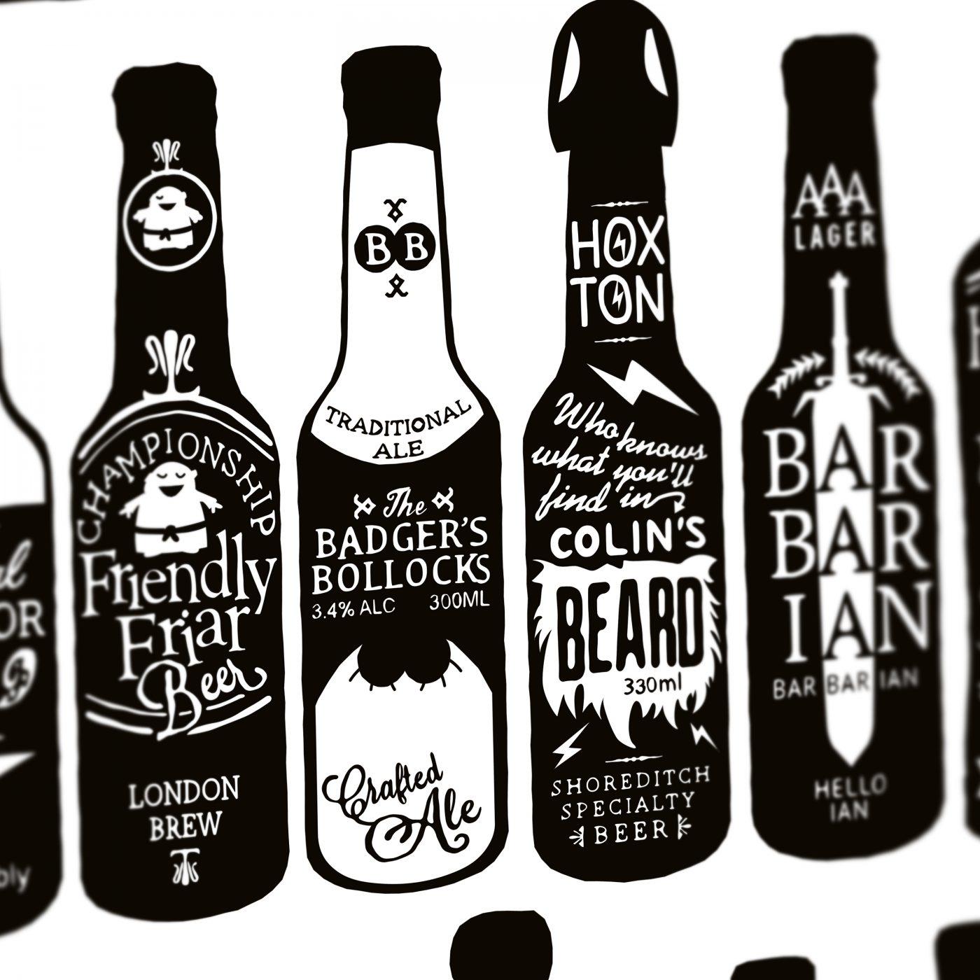 typographic beer bottles close up