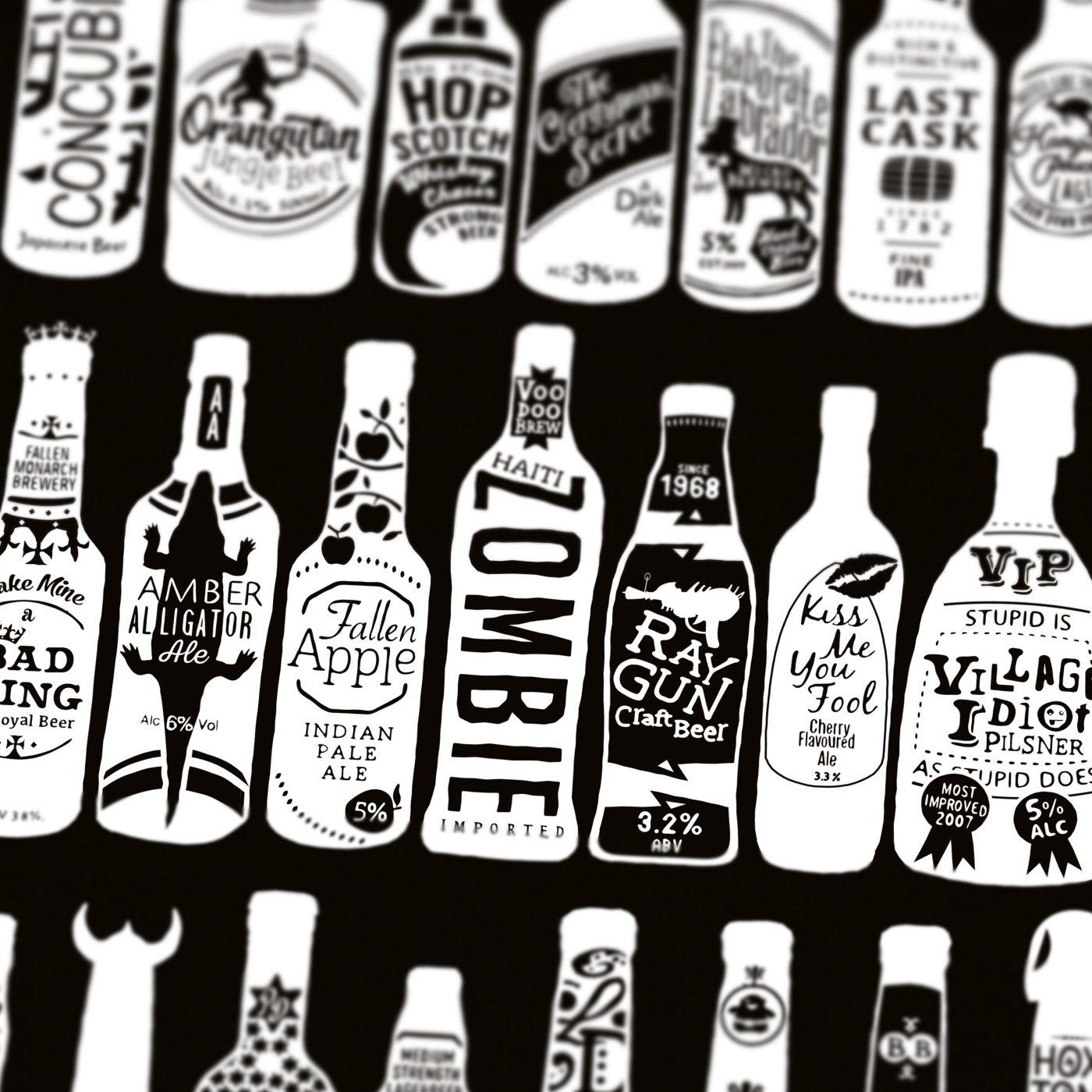 typographic bottles of beer