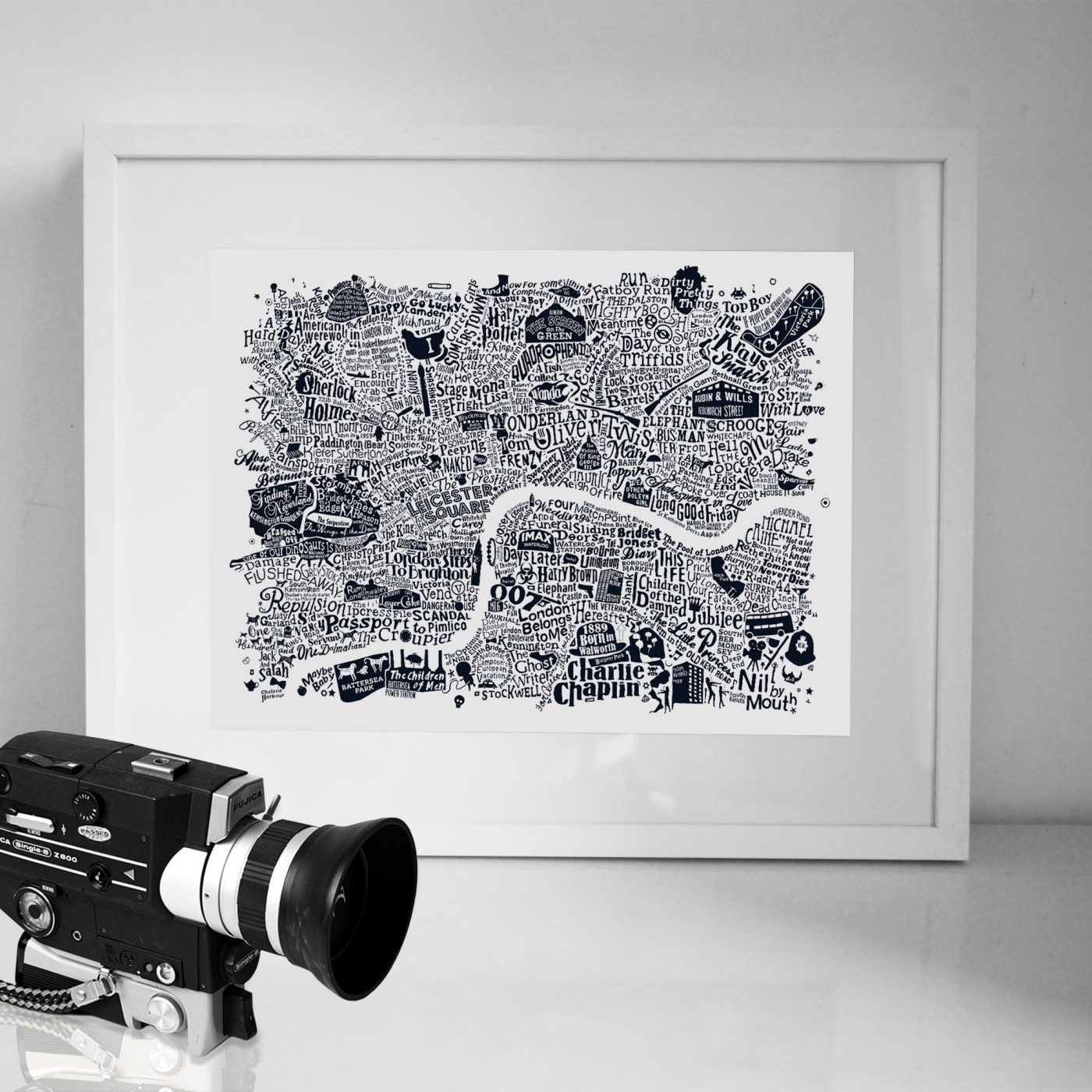 Central London Film Map white frame - Run For The Hills