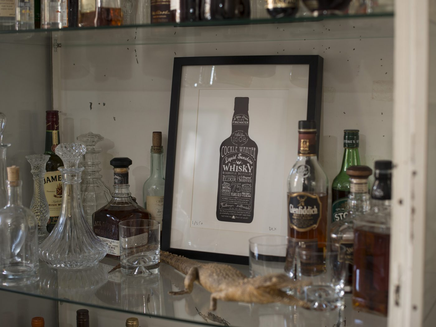 stylish whisky bottle art drinks cabinet
