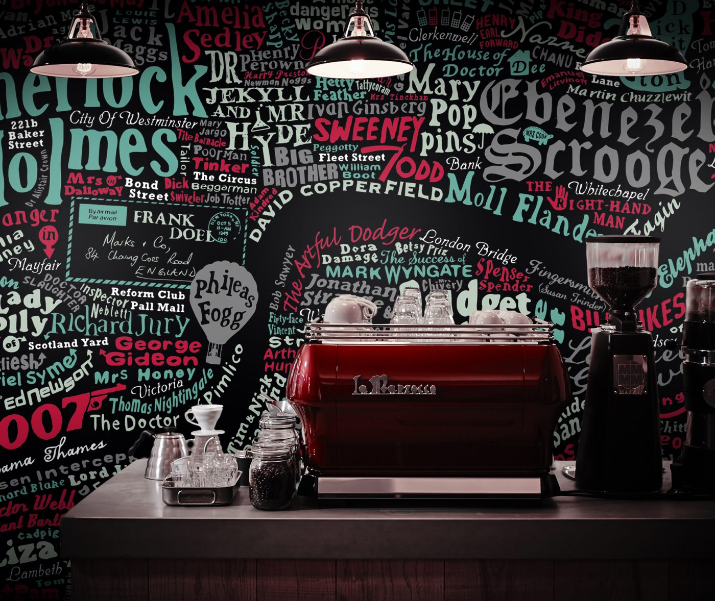 stylish coffee shop wallpaper