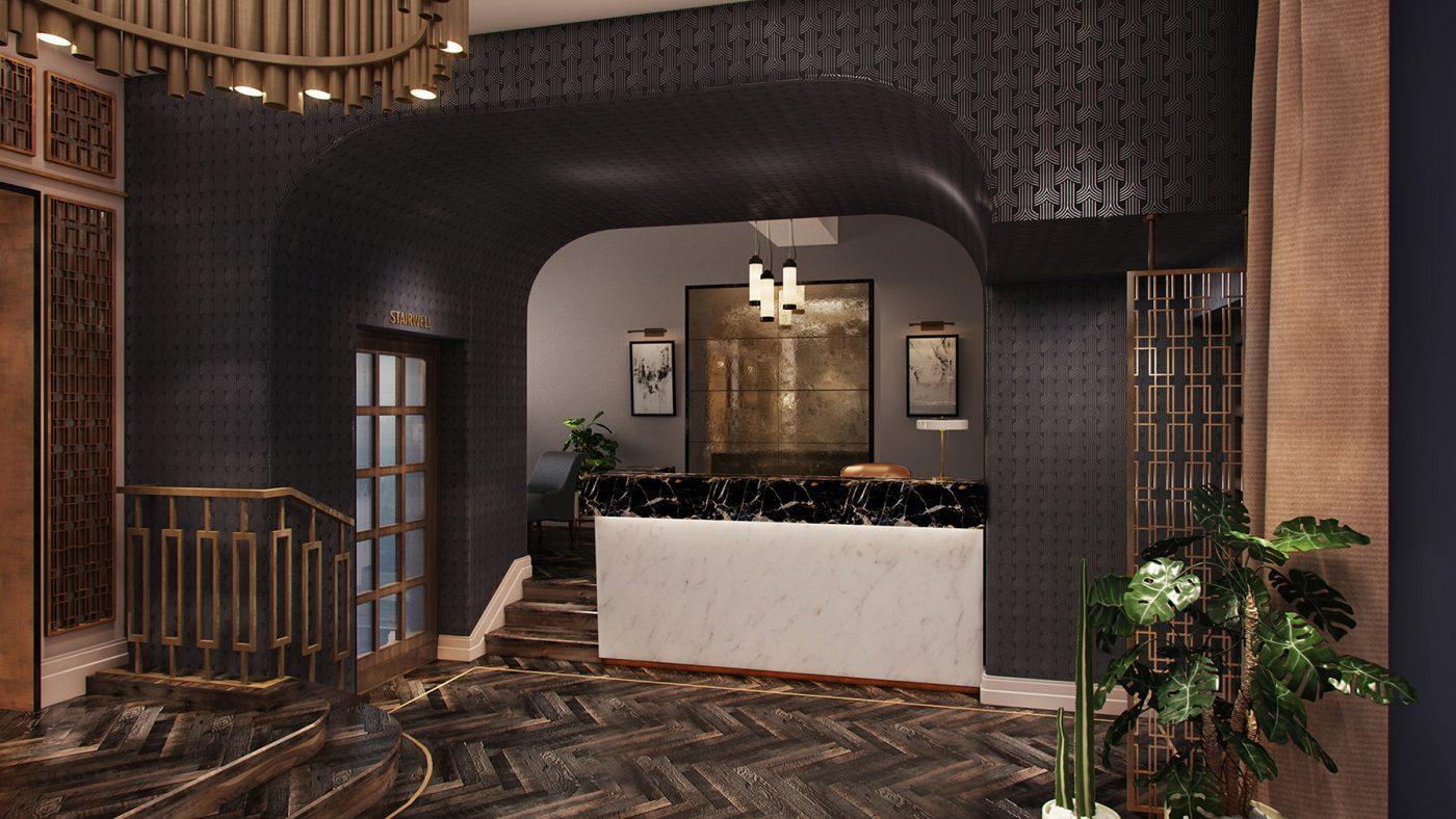 glamorous hotel reception desk