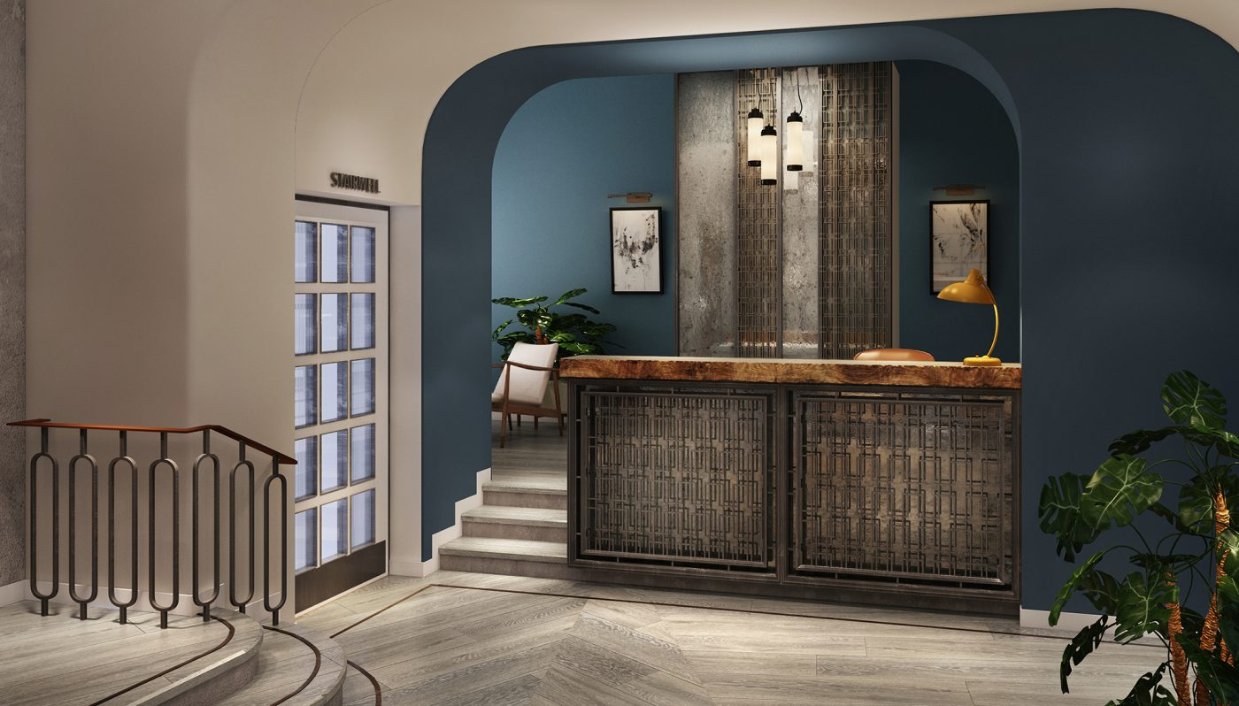 urban modern hotel reception design