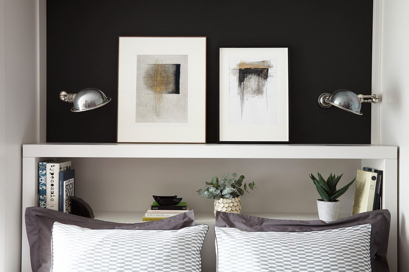 regents-park-london-apartment-interiors-design-anna-burles-fresh-cool-modern-bedroom-art-frames-shelf-2-crop