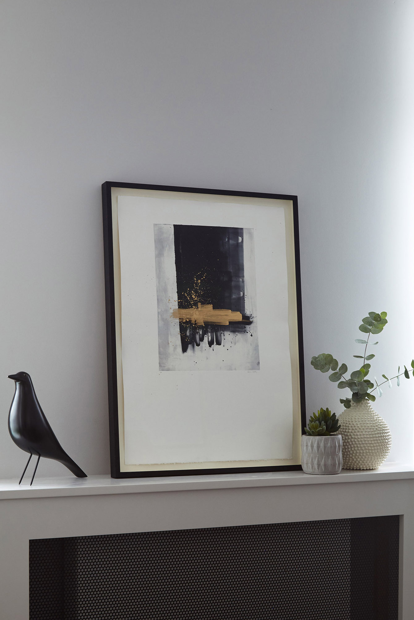 regents-park-london-apartment-interiors-design-anna-burles-fresh-cool-modern-mantelpiece-art-frames-crop