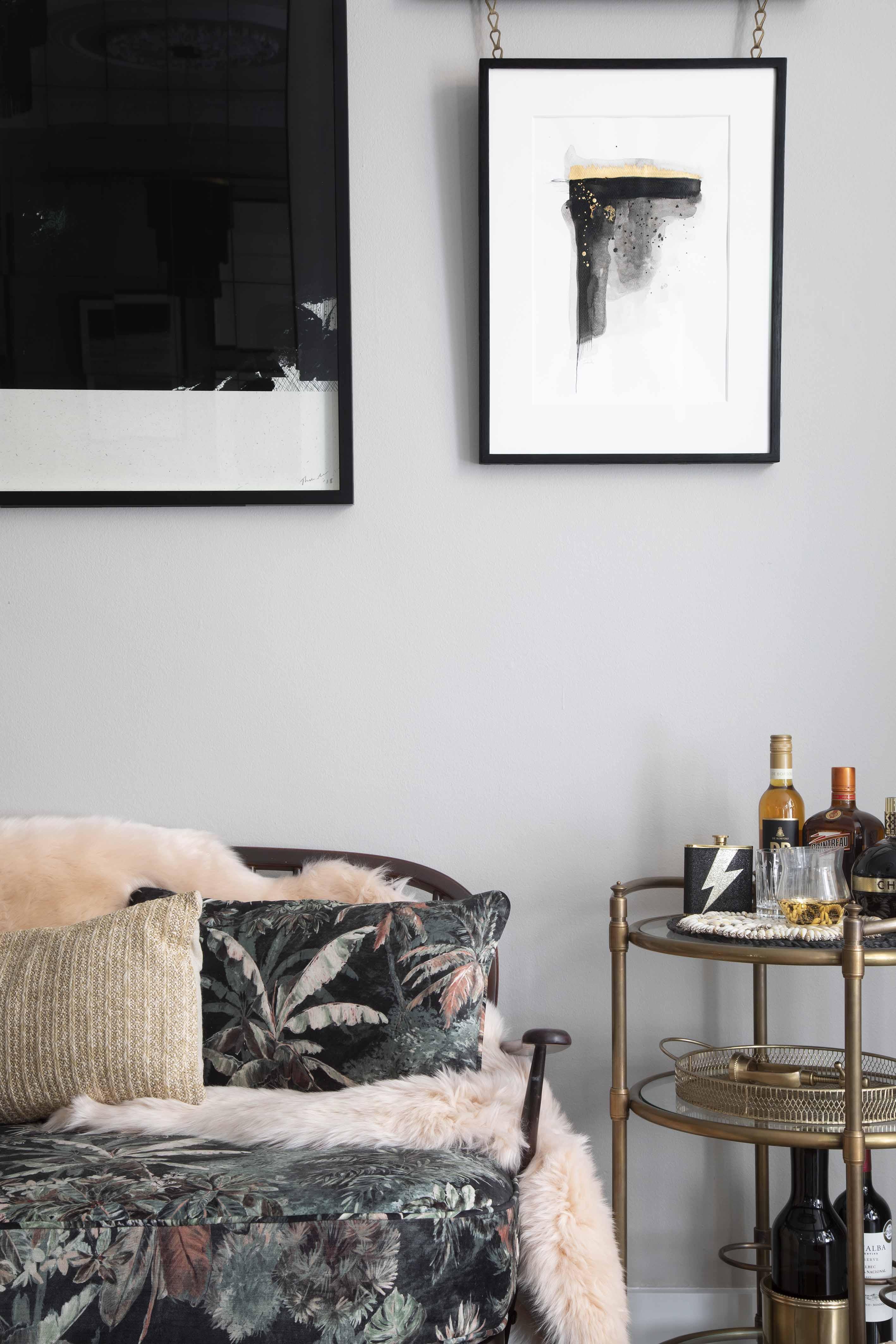 Notting Hill Apartment Interior Designed Luxury Antique Art Rail Chains Tropical Print Sofa Velvet Brass Drinks Trolley Sheepkin Dulux Heritage Pebble Grey