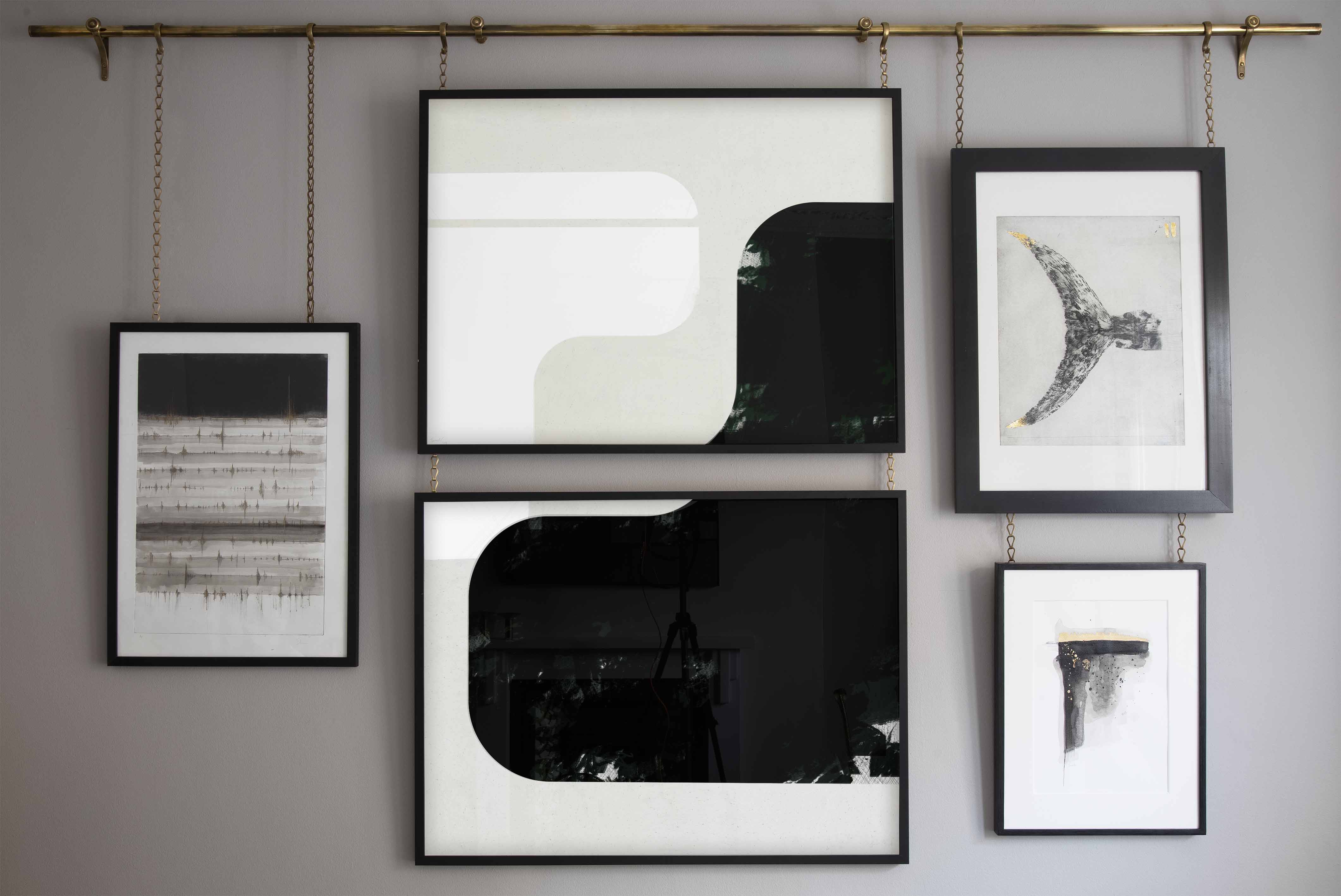Notting Hill Apartment Interior Designed Luxury Brass Antique Hanging Art Rail Chains Monochrome Geometric Artist Dex
